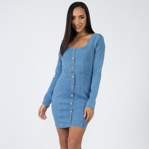 Denim Square Neck Dress
